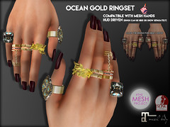 Gee - Ocean Gold Ringset (Georgina Daylight) Tags: sl secondlife mesh rings tmp slink maitreya unisex hud