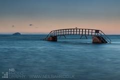 Bridge to nowhere (GenerationX) Tags: bridge blue sunset sea sky water clouds bay scotland unitedkingdom seagull steps scottish neil calm flats dunbar railings barr hightide bassrock belhaven eastlothian bridgetonowhere