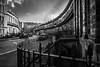 Curves on Danube St (CarnivoreDaddy) Tags: street city uk urban bw buildings scotland town blackwhite nikon edinburgh britain curves crescent stockbridge 1855 nocrop cobbles railings d3200
