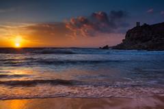 Maltese sundown (snowyturner) Tags: sunset sea tower beach mediterranean malta cliffs tuffieha ghajn