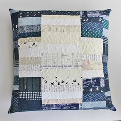 Improv strip set quilted pillow (teaginny) Tags: modern navy pillow quilted plus improv freemotionquilting stripsetpillow