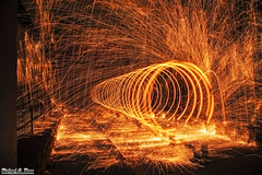 Summer Steel Sparks - Spinning steel / wire wool (RickDrew) Tags: road street bridge hot wool night dark spiral wire melting long exposure steel spin overpass heat railing sparks bounce sparly