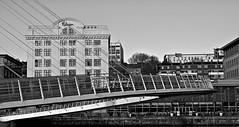 The Millenium Bridge . (wayman2011) Tags: urban bw architecture canon buildings newcastle cityscape bridges gateshead rivers tyneside townscapes tynewear rivertyne canon50d themilleniumbridge