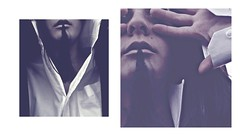 **My cracks I shall become. (Despina Titoni) Tags: blue light portrait woman white selfportrait black color girl shirt female eyes diptych photographer natural empty coat fingers creative young dramatic lips pale crack greece covered hour expressive emotional frustration conceptual emotions scar disappointment feelings discolored nikond3100