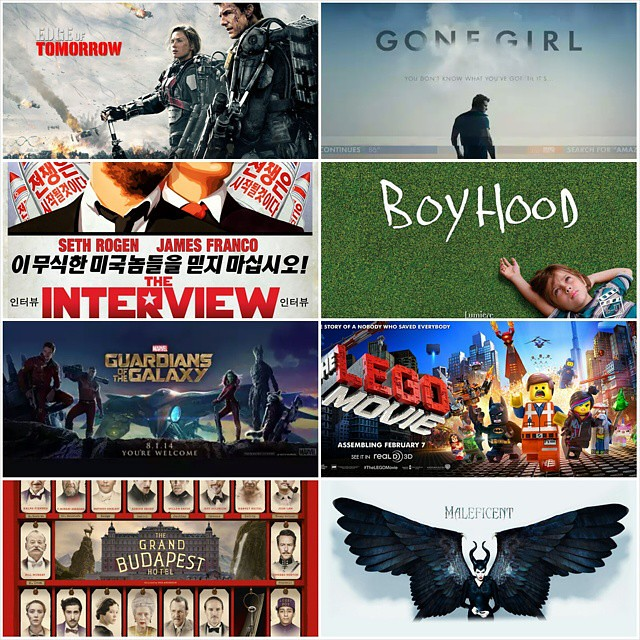 Heres my #TopMovies in 2014. They are great movies to kick start 2015:  Maleficent has some flaws in plot and script but, boy, Angelina Jolies performance is flawless.   Lego & Boyhood are excellent films, I am sure they will be the biggest winners in t