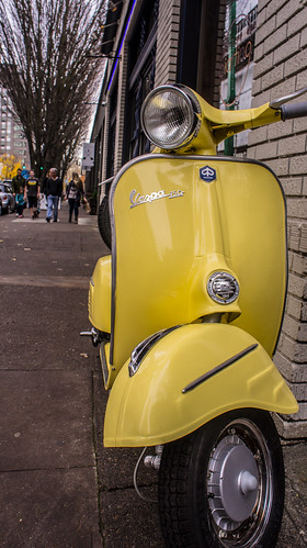 Yellow Vespa Portland Oregon