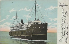 SHIP 1909 SS INDIANA Steamer Excursion Steamship Route included Chicago Muskegon Grand Haven also used GTRR Grand Trunk Railroad and Excursion Ferry Docks EXCURSION STEAMSHIP (UpNorth Memories - Donald (Don) Harrison) Tags: railroad travel heritage history tourism st vintage antique michigan postcard memories restaurants depot hotels trailer roadside upnorth steamship cafes excursion attractions motels mackinac cottages cabins campgrounds city bridge island car upnorthmemories rppc wonders big railroad michigan michigan memories mac state parks entertainment natural harrison pure roadside ferry travel don tourist mackinaw puremichigan stops upnorth straits ignace