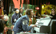 John Lennon & The Plastic Ono Band performing 'Instant Karma' ~ BP Fallon tambourine, Yoko Ono conceptualist, Klaus Voorman bass guitar, John Lennon vocals/piano, Alan White drums ~ BBC TV 'Top Of The Pops' Feb 5th 1970 (bp fallon) Tags: rocknroll johnlennon yokoono bpfallon alanwhite instantkarma klausvoorman johnlennontheplasticonoband bpfallonjohnlennon2etctotp1