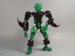 Teera, Unarmed (MySnailEatsPizza) Tags: shadow black green shadows lego mask master shade sword warrior bionicle toa kanohi