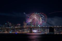 2015 nye 5 (pbo31) Tags: sanfrancisco california bridge holiday black color reflection skyline night dark bay nikon fireworks baybridge bayarea newyearseve eastbay 80 d800 portofoakland 2015 middleharborshorelinepark