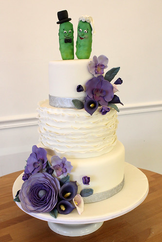 Pickles Wedding Cake with Purple Sugar Flowers