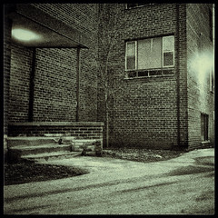 Should I Stay, Or Should I Go (William Shropshire) Tags: bw copyright white toronto ontario canada black brick apple composition square photography jones blackwhite lyrics flickr shropshire apartment salt creative entrance william clash mortar photographs mick app allrightsreserved 4s iphone 2015  snapseed