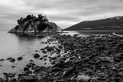 Whytecliff Park (Moe W) Tags: longexposure blackandwhite bw canada beach water clouds island rocks bc driftwood horseshoebay whytecliffpark westvancouver mauricewoodworth lightroom5