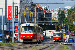 KD Tatra T3SUCS #7082 (ukasz Janowicz) Tags: tram praha praga czechrepublic dpp tatra tramvaj  czechy kd esko eskrepublika lijn24 7082 strasenbahn linia24 doppeltraktion republikaczeska t3sucs linie24 linka24
