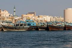 Boats on Dubai Creek (Eli Nelson) Tags: wood old blue water creek canon eos boat wooden dubai ship 7d dubaicreek shipping ef24105mmf4l