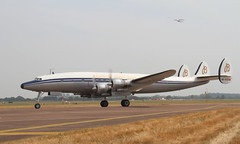 Super Constellation (Treflyn) Tags: tattoo airplane air engine royal plan super aeroplane piston international connie lockheed prop airliner constellation propellor liner fairford breitling departs l1049 2013 hbrsc l1049f