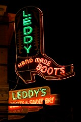 Leddy's Boots & Saddlery (dangr.dave) Tags: architecture downtown neon texas boots tx historic neonsign fortworth cowtown leddy stockyards tarrantcounty saddlery panthercity leddysranch handmadeboots