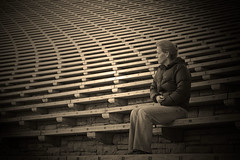 Waiting .. (Carol Havrda) Tags: selfportrait blackwhite stadium bleachers redrockspark carolhavrdaphotography