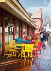 Rainbow of Seats (Karol A Olson) Tags: chairs maryland tables annapolis markethouse mar15