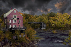The Old Mill Pub (☺♥ julev69 ♥☺ 1,925,000+ Views- THANK YOU!) Tags: fall nature river landscape restaurant pub mood moody cloudy ominous north maine oldmill kennebecriver skowhegan julev69 julieeverhart