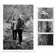 The Adventurous Couple (Jordan T Baker) Tags: wedding blackandwhite bw mamiya film nature darkroom creek forest outdoors kodak trix depthoffield engaged weddingphotographer silvergelatin blackandwhitefilm engagementsession 80mmf19 mamiya645pro