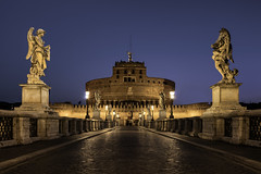 Sant'Angelo... (JH Images.co.uk) Tags: ponte santangelo castle hrd dri bluehour statue bridge rome italy morning lights architecture symmetry symmetric angelo lamps