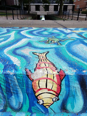 Day 216: Frog and Fish (quinn.anya) Tags: frog fish blue water mural creek uofi day216 525600minutes