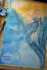 Stardust - wip1 (The Girl with the Flaxen Hair) Tags: illustration watercolor painting workinprogress fanart stardust neilgaiman animemanga natiart stardustneiolgaiman