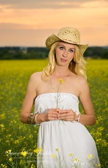 DSC_0366a wm web (Susan Day-Jeschke) Tags: flowers blue sunset summer white green field yellow rural pose model cowboy dress photoshoot farm vibrant blueeyes posing blonde blondehair cowboyhat modelling brilliant canola whitedress canolafield