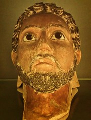 Plaster funerary portrait mask with glass pupils Egypt Roman Period (mharrsch) Tags: portrait england man male london painting death ancient unitedkingdom egypt plaster burial mummy funerary hawara 1stcenturyce 2ndcenturyce romanperiod petriemuseum mharrsch
