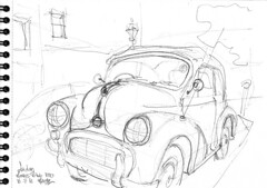 London, Hampstead, an old Morris Mini (Croctoo) Tags: croctoo croctoofr croquis crayon london auto morris
