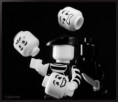 No Matter What...... (legomeee) Tags: lego juggling faceless backstabber legominifigures mime miserable legophotography legography black white monochrome blackandwhite