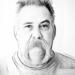 Pencil sketch of GP - iPhone Prisma App (Sharon's Shotz) Tags: man moustache spouse husband gp iphoneographer prismaapp iphone
