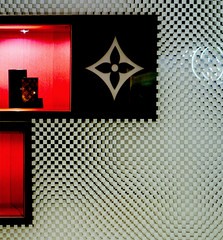 Store window (chrisk8800) Tags: store window decoration composition light red squares lines barcelona