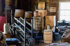 In the General Store (londa.farrell) Tags: 2016 canada canon canondslr canoneos7dmarkii july novascotia sherbrooke sherbrookevillage summer store generalstore barrel rope indoor inside window history historical livinghistory stove basket urn box wood