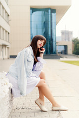 Seated girl (Alexis2k) Tags: olga   girl denimjacket denim jacket