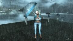 under my umbrella (Lise Button) Tags: ns truth secondlife rain portrait avatar artistic oil umbrella landscape maitreya blogger blonde bonita virtual conjunto abstract style dress girl