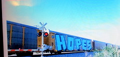 (timetomakethepasta) Tags: hopes wholecar freight train graffiti art autorack bnsf