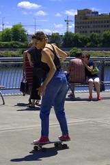 Skateboarding Lady (swong95765) Tags: woman female lady skateboard skateboarding transportation recreation activity fun balance skill