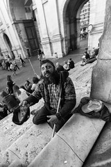 On the stairs (Francesco Grisolia) Tags: onthestairs sullescale roma rome chiesa churc carit help piazzadelpopolo bw bn black white street urban city photo foto flickr ottobre octorber 2016 italia italy people person life portrait ritratto strada vita nikon d750 nikond750 1530mm lens