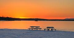 Time To Choose A Table (jack4pics) Tags: alaska sunset tables picnic lake frozen winter