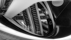 Escalators Curves (tholiefot) Tags: frankfurt bw monochrome architecture shadow light myzeil city shopping mall germany architektur schwarz weiss curves olympus 12mm rolltreppe escalator stair way
