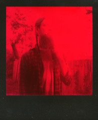 Disappearing Man (This Is A Wake Up Call) Tags: polaroid slr680se duochrome red black roidweek2016 autumn