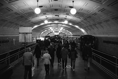 Heads In The Ground (A-Canon) Tags: blackandwhite monochrome metro subway moscow russia underground people rush hour ambience perspective tunnel atmosphere busy station