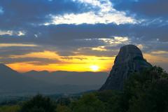 Foggy Sunset (Soupmeister) Tags: greece thessaly meteora    sunset haze fog rock sky clouds