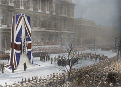 London's WW1 Cenotaph unveiling ceremony 11 Nov 1920 (Peer Into The Past) Tags: photography colourised colorized vintage worldwarone cenotaph memorial england whitehall london history ww1 wwi