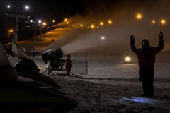Snowmaking Crew Works Through the Night