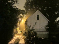 back alley barn on a foggy night (Zombie37) Tags: city trees roof light urban window fog night barn dark walking alley glow bright fuzzy path foggy baltimore spooky walkway mysterious glowing dreamy rays grainy radiating pointed