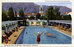 El Mirador Swimming Pool Palm Springs CA (Edge and corner wear) Tags: california ca vintage hotel pc desert linen postcard palm springs