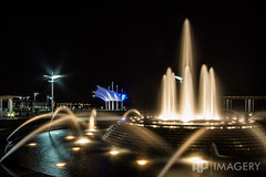 Smothers Park - Fountain (AP Imagery) Tags: fountain night downtown kentucky ky pavilion canopy overlook owensboro